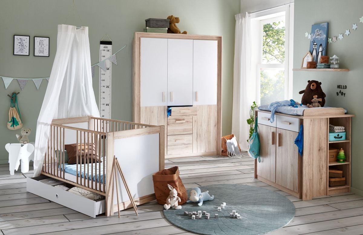 Babyzimmer Set Kiruna 21tlg Wickelkommode Babybett Kleiderschrank  Schubkästen 21trg Eiche weiß