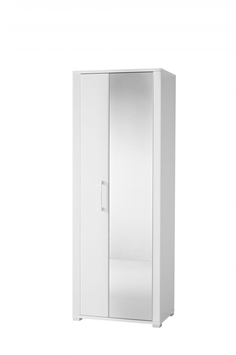 Garderobe GO Garderobenschrank Dielenschrank Hochschrank Spiegel Weiß
