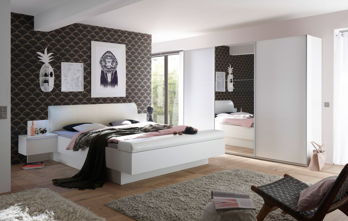 Schlafzimmer Komplett Set 4 Tlg Bonn Bravo Bett 180 Schrank Weiss Leder