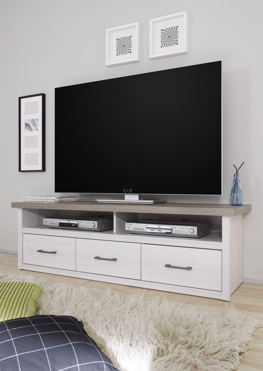 TV Lowboard LUCA Sideboard Wohnzimmer Schlafzimmer Flur Weiß Pinie Braun Trüffel 148cm
