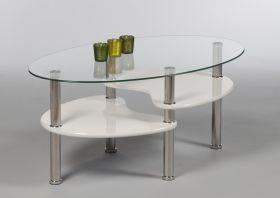Couchtisch PANTY Beistelltisch Wohnzimmertisch Tisch weiß Glas oval 90cm1