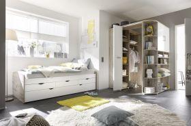 Ausziehbett Eckkleiderschrank Bett 90cm Einzelbett Schlafzimmer Eiche Weiß1