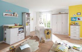 Babyzimmer-Set Babymöbel LUCA 6tlg Kommode Bett Regal Schrank 3 trg Pinie weiß1