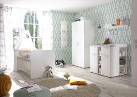 Babyzimmer-Set BIBO 5tlg Wickelkommode Board Babybett Kleiderschrank 2trg weiß1
