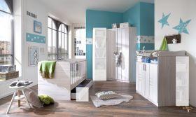 Babyzimmer-Set komplett BORNHOLM 3tlg Bett Wickelkommode Schrank WeißeicheWhite1