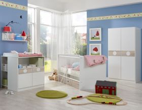 Babyzimmer-Set Komplett KIMBA 3tlg Bett Wickelkommode kl Schrank Eiche-Sägerau1