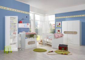 Babyzimmer-Set LILLY 3tlg Komplett Bett Wickelkommode Schrank Abs San Remo-Eiche1