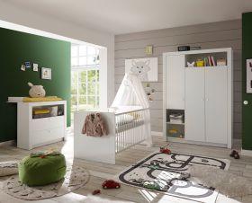 Babyzimmer-Set Paula 3tlg Wickelkommode Babybett Kleiderschrank 3türig  weiß1