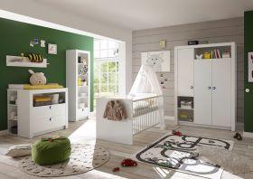Babyzimmer-Set Paula 5tlg Wickelkommode Babybett Kleiderschrank Regal weiß1