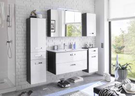 Badezimmer Set MANHATTAN 5 tlg Badezimmer Badmöbel Badezimmermöbel weiß grau1