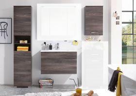 Badmöbel Set SEATTLE 3-tlg Hochschrank Badezimmer Waschtisch Braun Sangallo1