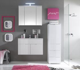 Badmöbel-Set SPICE 3-tlg Badezimmer Badmöbel weiß mit Beleuchtung1