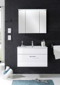 Badmöbel SPLASH 2-tlg Badezimmer Set Badmöbel Badezimmermöbel in Weiß Abs Weiß1