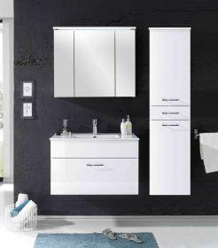 Badmöbel SPLASH 3-tlg Badezimmer Set Badmöbel Badezimmermöbel in weiß hochglanz1