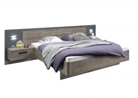 Bett Bettanlage Doppelbett Nachtkommoden Ehebett 180x200 Eiche braun grau Licht1