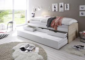 Bett Einzelbett Ausziehbett Schubladenbett Tandembett 90cm Weiß Sonoma1