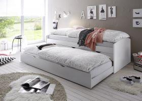 Bett Einzelbett Ausziehbett Schubladenbett Tandembett 90cm Weiß1