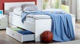 Bett FILOU Bettgestell mit Bettkasten Kinderbett Kinderzimmer Jugendzimmer weiß1