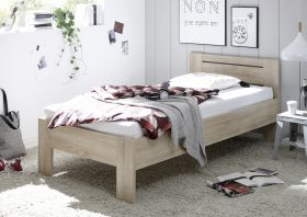 Bett SATURN Einzelbett Bettgestell Komforthöhe Eiche Sonoma 90cm1