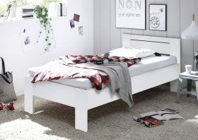 Bett SATURN Einzelbett Bettgestell mit Komforthöhe weiß 90 x 200 cm1