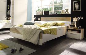 Bettanlage  MATCH 3-tlg Bett 180 Doppelbett Nachtkommoden weiß Eiche San Remo1