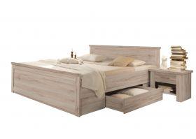Bettanlage mit 2 Nachttischen LUCA Bett 180cm Doppelbett Eiche1