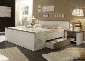 Bettanlage mit 2 Nachttischen LUCA Bett 180cm Doppelbett Pinie weiß braun1