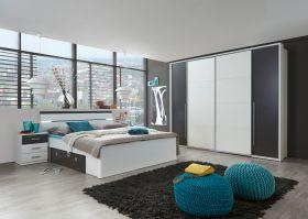 Bettanlage Schlafzimmer komplett Set MARS Schrank Kleiderschrank Bett1