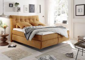 Boxspringbett Malibu 1 gelb 180x200 cm inkl Topper Bett Doppelbett Polsterbett1