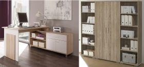 Büromöbel-Set MANAGER Schreibtisch Büroeinrichtung Eckschreibtisch Eiche Sonoma1