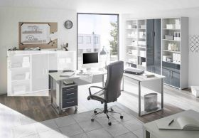 Büromöbel-Set OFFICE LINE LUX Schreibtisch Regalwand Büroeinrichtung Grau1