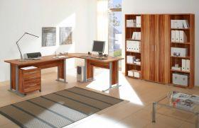 Büromöbel-Set OFFICE LINE Schreibtisch Eckschreibtisch Büroeinrichtung Walnuss1