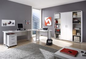 Büromöbel-Set OFFICE LINE Schreibtisch Eckschreibtisch Büroeinrichtung weiß1
