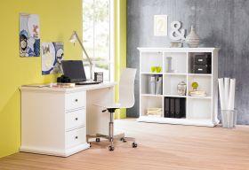Büromöbel-Set PARIS 130cm Schreibtisch Regal  Landhausstil Landwood weiß1