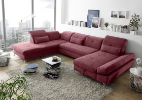 Couch MELFI L Sofa Schlafcouch Wohnlandschaft Schlaffunktion berry rot U-Form1