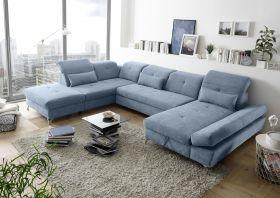 Couch MELFI L Sofa Schlafcouch Wohnlandschaft Schlaffunktion blau denim U-Form1