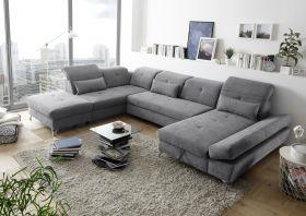 Couch MELFI L Sofa Schlafcouch Wohnlandschaft Schlaffunktion dunkelgrau U-Form1