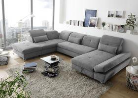 Couch MELFI L Sofa Schlafcouch Wohnlandschaft Schlaffunktion grau U-Form1