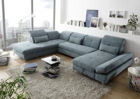 Couch MELFI L Sofa Schlafcouch Wohnlandschaft Schlaffunktion grün dunkel U-Form1
