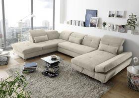Couch MELFI L Sofa Schlafcouch Wohnlandschaft Schlaffunktion sand beige U-Form1