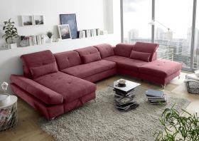 Couch MELFI R Sofa Schlafcouch Wohnlandschaft Schlaffunktion berry rot U-Form1