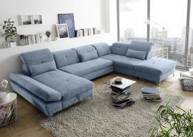 Couch MELFI R Sofa Schlafcouch Wohnlandschaft Schlaffunktion blau denim U-Form1