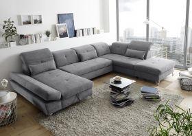 Couch MELFI R Sofa Schlafcouch Wohnlandschaft Schlaffunktion dunkelgrau U-Form1