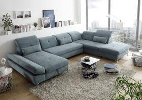 Couch MELFI R Sofa Schlafcouch Wohnlandschaft Schlaffunktion grün dunkel U-Form1