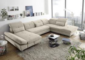Couch MELFI R Sofa Schlafcouch Wohnlandschaft Schlaffunktion sand beige U-Form1
