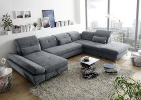 Couch MELFI R Sofa Schlafcouch Wohnlandschaft U-Form Schlaffunktion grau dunkel1