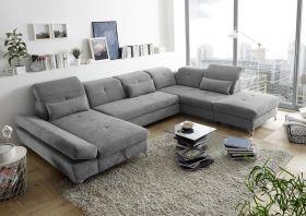 Couch MELFI Sofa Schlafcouch Wohnlandschaft Bettsofa Schlaffunktion grau U-Form1
