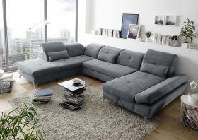 Couch MELFI Sofa Schlafcouch Wohnlandschaft Schlaffunktion grau dunkel U-Form1