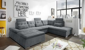Couch NALO Sofa Schlafcouch Wohnlandschaft Bettsofa anthrazit grau U-Form rechts1