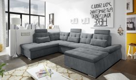 Couch NALO Sofa Schlafcouch Wohnlandschaft Bettsofa anthrazit U-Form links1